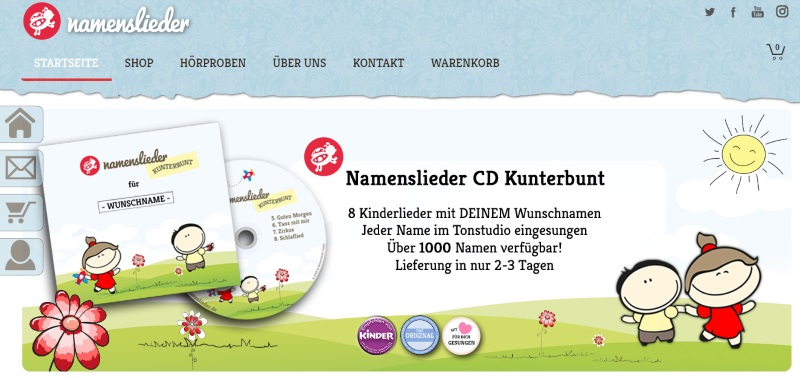 Homepage Namenslieder.de